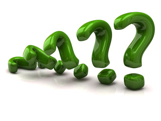 Green question mark signs
