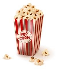Popcorn in paper box.