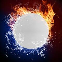 Ping pong ball in fire flames and splashing water