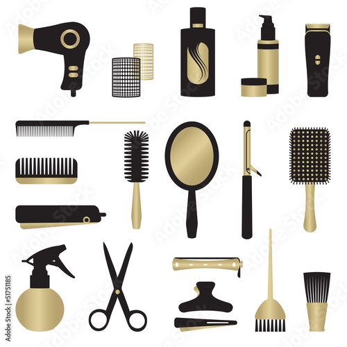 Gold and black hairdressing related objects set