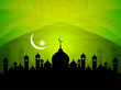 beautiful religious eid background with mosque.