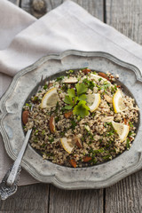 Quinoa salad with almonds and parsley