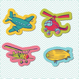 Set of Baby Boy Plane Stickers - for design and scrapbook - in v