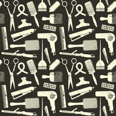Scratched hair styling related seamless pattern 2
