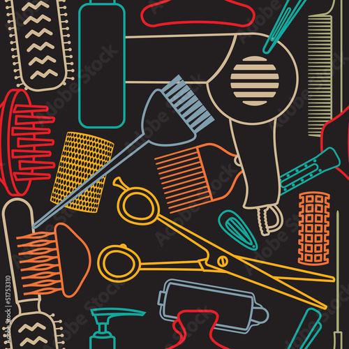 Decorative hairdressing related seamless pattern - 51753310