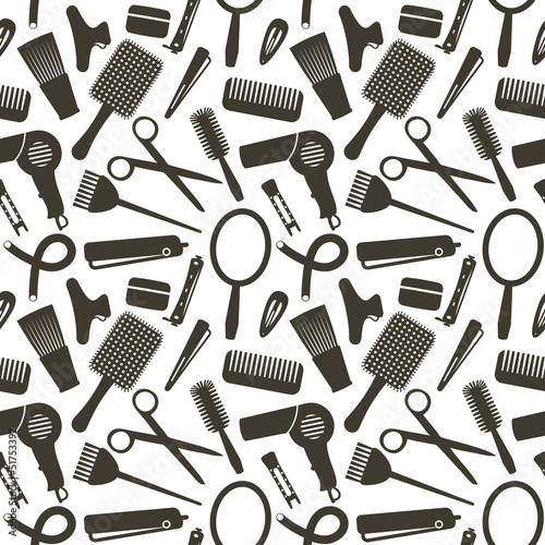 Seamless pattern with hairdressing related symbols