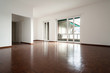 Interior empty, white walls parquet floor