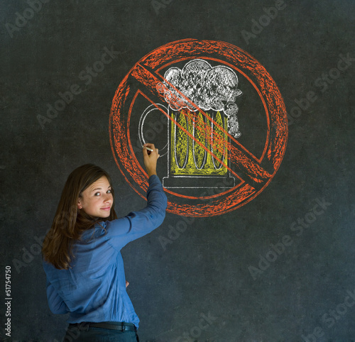 No beer alcohol woman on blackboard background