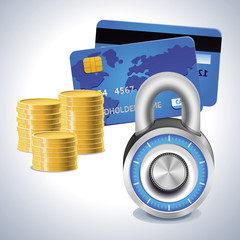 Safe internet shopping concept - lock, coins and credit card
