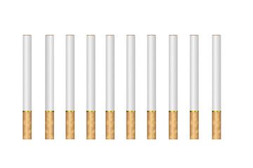 ten drawn cigarettes on a white background
