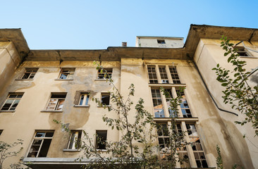 old destroyed building, facade