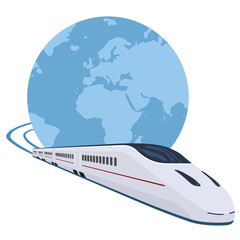 Tren circulando alrededor del mundo