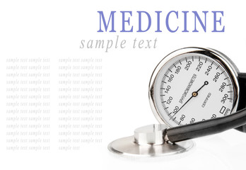 Sphygmomanometer and stethoscope isolated