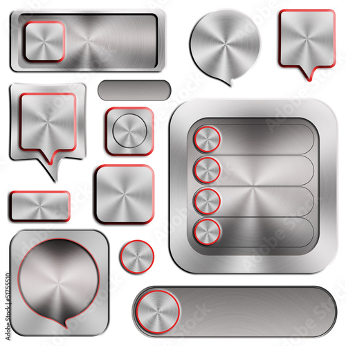 Set of modern aluminum buttons