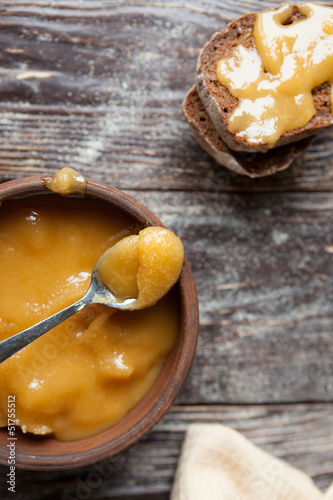 candied honey and pieces of bread