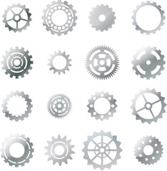 set: silver cogwheel