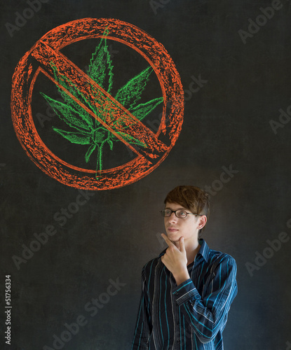 No weed marijuana man on blackboard background