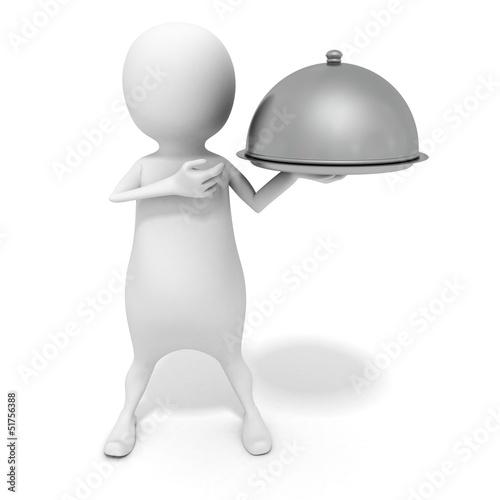 white 3d man with shiny metallic waiter tray