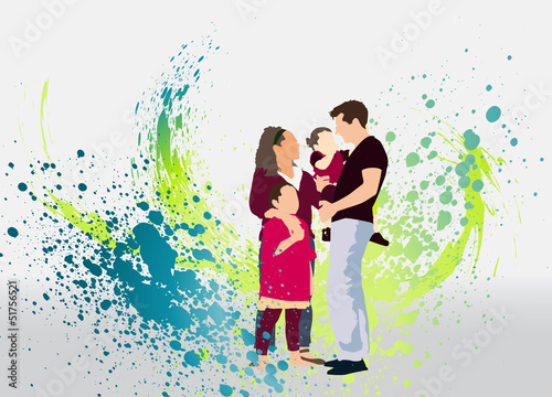 Family and streams of colorful paint