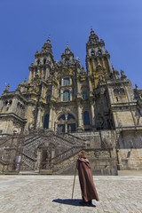 Pilgrim front Cathedral of santiago