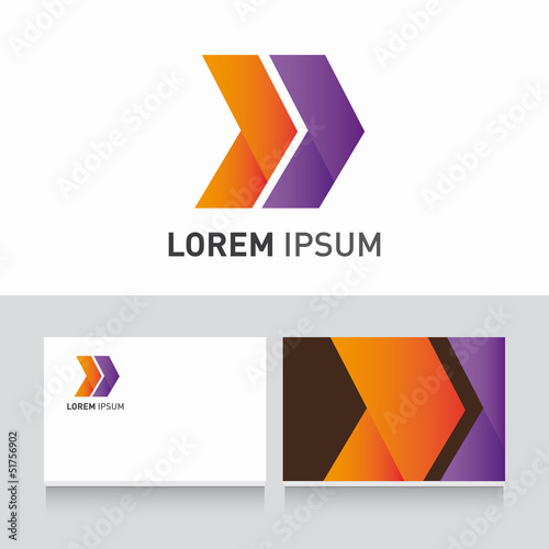 Business card company template with arrows logo