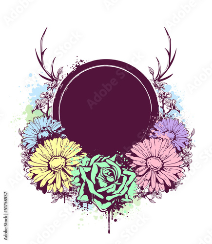 Grunge circle banner with flowers