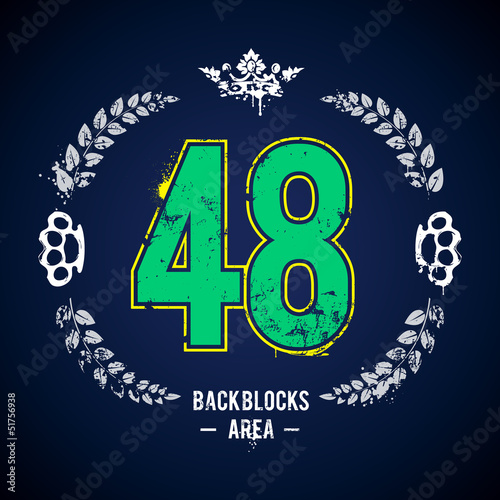 Grunge print with lucky 48 number