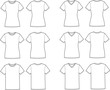 Vector illustration of t-shirts. Different silhouettes - 51757505