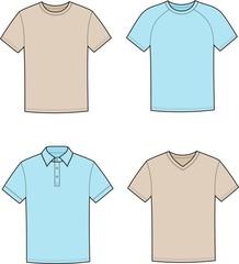 Vector illustration of men's t-shirts
