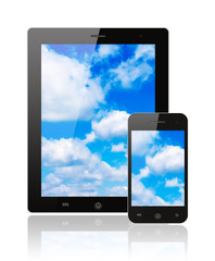 Tablet pc and smart phone with blue sky on white background .