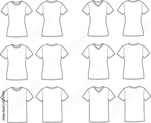 Vector illustration of t-shirts. Different silhouettes