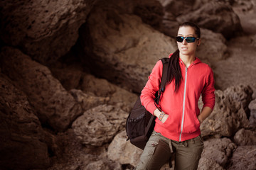 woman tourist in the rocky grot
