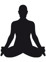 Eine Person im Lotussitz – die Hände im Chin-Mudra, freigestellt