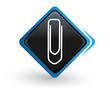 icône trombone sur bouton carré bleu
