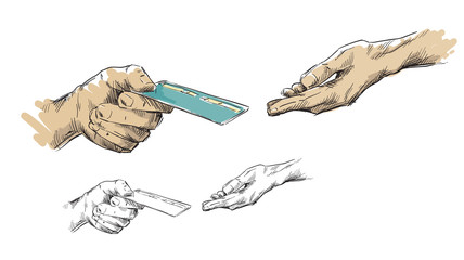 Hands passing credit card
