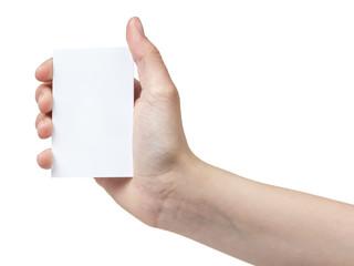 female teen hand holding blank paper card