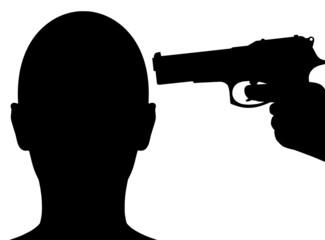 Gun pointing to head