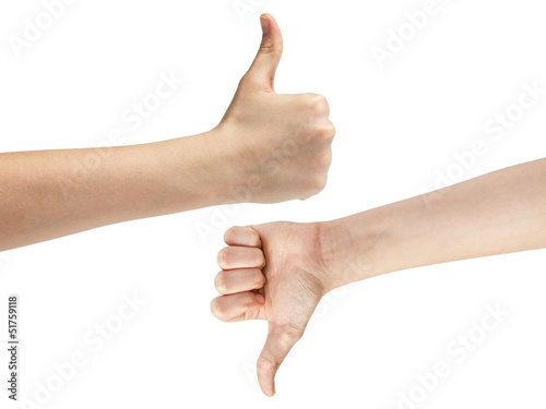 female teen hands like dislike symbol
