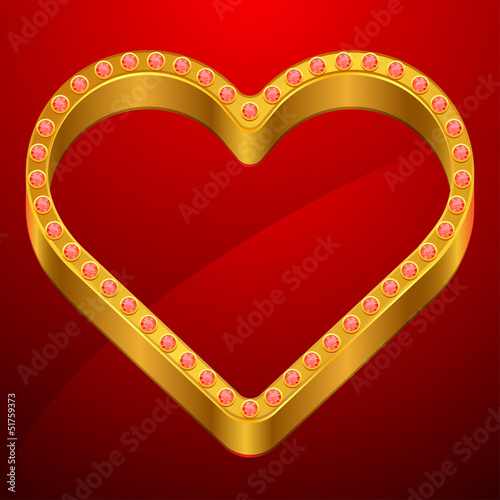 Valentine background with gold heart and jewels.