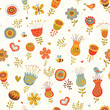Cute seamless hand-drawn floral pattern.