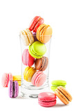 traditional french colorful macarons on white background poster