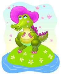 Vector girl crocodile character