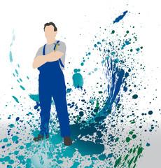 Homme qui bricole - fond abstrait de taches de peinture