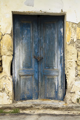 Old ruin with blue doors