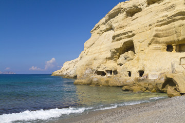 Matala sandstone hippy caves