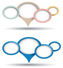 Puntatore ovale con altri box blu e pastello