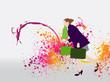 Femme qui fait du shopping - effets colorés en arrière-plan