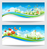 Fototapety Two summer banners with flowers and butterflies