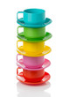 Stack of plastic colorful cups and plates - perfect for picnic