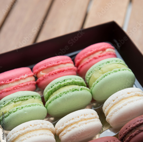 Macarons on a gift box